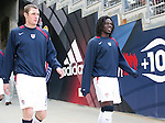 29 January 2006: Nate Jaqua (l) and Ugo Ihemelu (r), both of the United States, take the field before the game. They would both make their first appearance for the national team in the game. The United States Men's National Team defeated their counterparts from Norway 5-0 at the Home Depot Center in Carson, California in a men's international friendly soccer game.