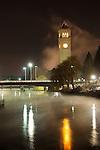 Fog swirling around the clock tower in Riverside Park in Spokane