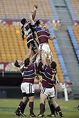 Luke Mealamu goes high during the Air NZ Cup game between the Counties Manukau Steelers and Southland played at Mt Smart Stadium on 3rd September 2006. Counties Manukau won 29 - 8.