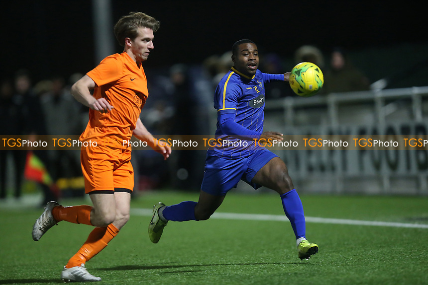 Mekhi Leacock McLeod and Jack Edwards of Brentwood during Romford vs Brentwood Town, BetVictor League North Division Football at Parkside on 11th February 2020