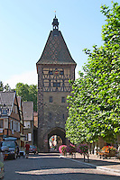 town wall tower and gate house bergheim alsace france