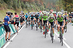 Euskadi-Murias lead the peloton during Stage 17 of the La Vuelta 2018, running 157km from Getxo to Balcón de Bizkaia, Spain. 12th September 2018.                   <br /> Picture: Unipublic/Photogomezsport | Cyclefile<br /> <br /> <br /> All photos usage must carry mandatory copyright credit (© Cyclefile | Unipublic/Photogomezsport)