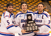 Joe Gambardella (UML - 5), Ryan Dmowski (UML - 15), Michael Kapla (UML - 3) The University of Massachusetts-Lowell River Hawks defeated the Boston College Eagles 4-3 to win the 2017 Hockey East tournament at TD Garden on Saturday, March 18, 2017, in Boston, Massachusetts.
