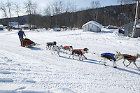 Rachel Scordis arrives at Grayling on Sunday afternoon.  Iditarod 2009