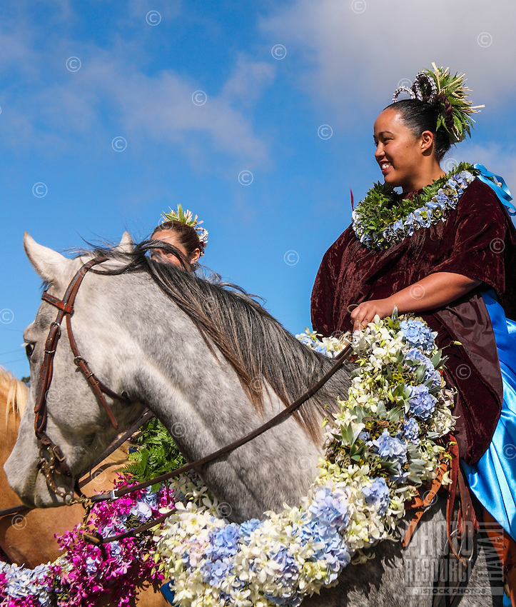Pa'u riders before start of the Waimea Paniolo Parade, Big Island.