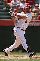05/06/12 Anaheim, CA: Los Angeles Angels designated hitter Kendrys Morales #8 during an MLB game against the Toronto Blue Jays played at Angel stadium. The Angels defeated the Blue Jays 4-3