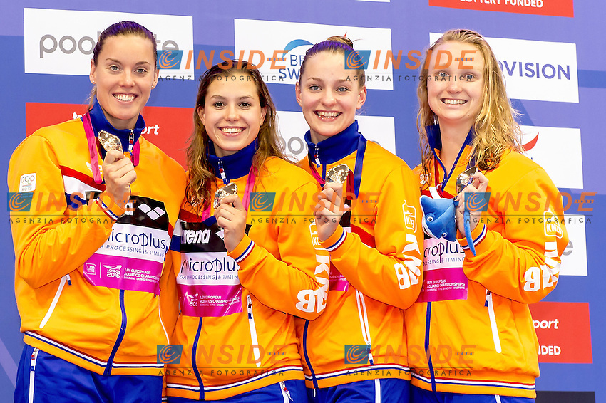 NED 4x200 Free Women (L to R) Nederland KNEPPERS Andrea, VERMEULEN Esmee, NEUMANN Robin,HEEMSKERK Femke<br /> 4x200 Freestyle Relay Women Podium<br /> London, Queen Elizabeth II Olympic Park Pool <br /> LEN 2016 European Aquatics Elite Championships <br /> Swimming day 04 heats<br /> Day 11 19-05-2016<br /> Photo Giorgio Scala/Deepbluemedia/Insidefoto