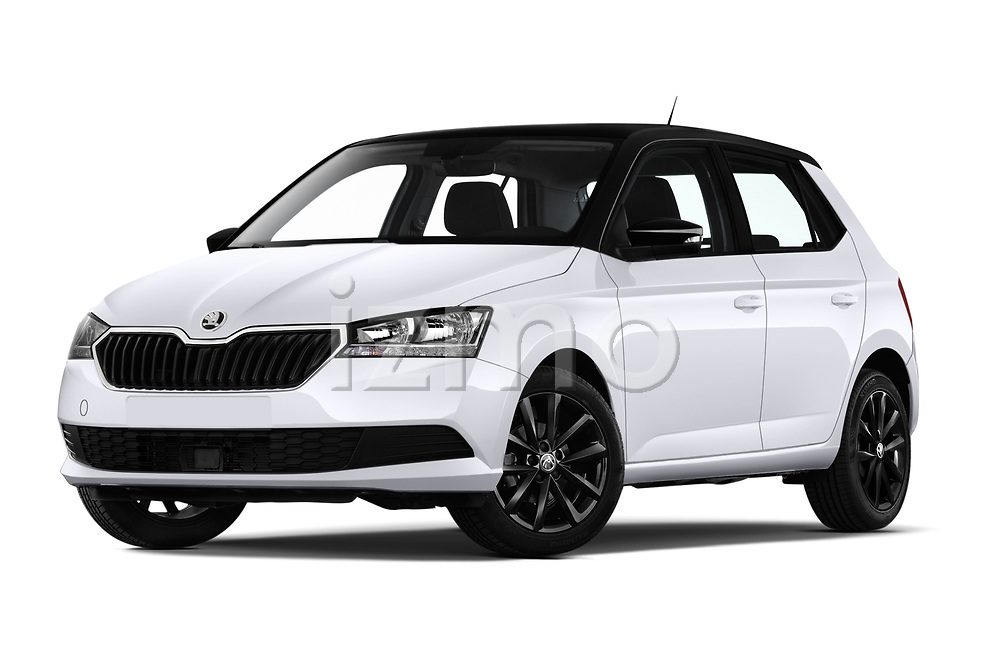 Stock pictures of low aggressive front three quarter view of a 2019 Skoda Fabia Ambition 5 Door Hatchback