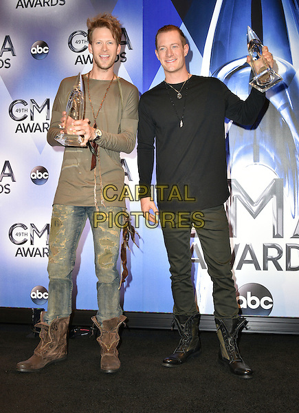 04 November 2015 - Nashville, Tennessee - Brian Kelley and Tyler Hubbard, Florida Georgia Line. 49th Annual CMA Awards, CMA Awards 2015, Country Music's Biggest Night, held at Bridgestone Arena. <br /> CAP/ADM<br /> &copy;ADM/Capital Pictures