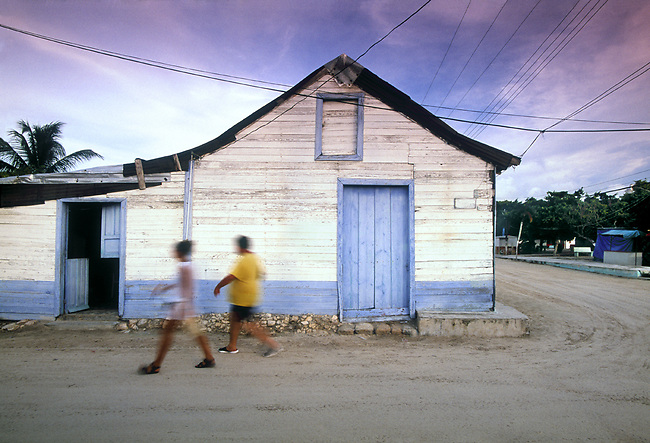 Wood framed architecture and sandy roads on Isla de Holbox, Mexico