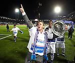 Nederland, Zwolle, 13 april 2012.Jupiler League.Seizoen 2011-2012.FC Zwolle-FC Eindhoven (0-0).FC Zwolle is kampioen van de Jupiler League.Frank Olijve van FC Zwolle schreeuwt het uit van vreugde na het behalen van het kampioenschap van de Jupiler League