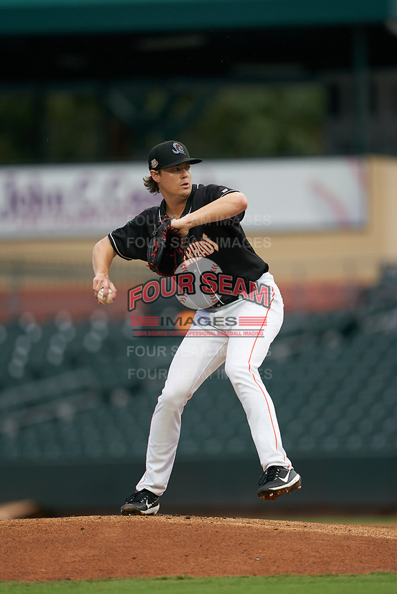 Jupiter Hammerheads pitcher Dustin Beggs (30) during a Florida State League game against the Lakeland Flying Tigers on August 12, 2019 at Roger Dean Chevrolet Stadium in Jupiter, Florida.  Jupiter defeated Lakeland 9-3.  (Mike Janes/Four Seam Images)