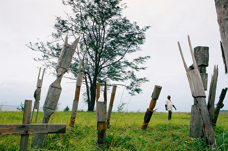 Poles mark graves in this stark scene on Tiwi Islands. <br /> A cleansing ceremony is the final ceremony in the death of a family member.  A year or so after the funeral the family gets together and paints pukamani poles and places them around the grave.  In some communities, people won't say the name of the deceased or go back into the home until there is a big cleansing rain.  But rituals vary in communities.  <br /> Tiwi has two islands--Bathurst and Melville.  This ceremony is in the town of Garden Point on Melville Island, the 2nd largest island in Australia.