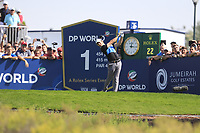 Rory McIlroy (NIR) on the 1st tee during the 3rd round of the DP World Tour Championship, Jumeirah Golf Estates, Dubai, United Arab Emirates. 23/11/2019<br /> Picture: Golffile | Fran Caffrey<br /> <br /> <br /> All photo usage must carry mandatory copyright credit (© Golffile | Fran Caffrey)