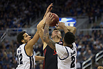 San Diego State forward Yanni Wetzell  (5) is fouled by Nevada during the second half of a basketball game played at Lawlor Events Center in Reno, Nev., Saturday, Feb. 29, 2020. (AP Photo/Tom R. Smedes)