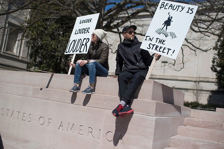UNITED STATES - MARCH 24: Andrew Breitenberg of Capitol Hill, and his sister, Amber, hang out at the National Gallery of Art near the student-led March for Our Lives rally on Pennsylvania Avenue to call for action to prevent gun violence on March 24, 2018. (Photo By Tom Williams/CQ Roll Call)