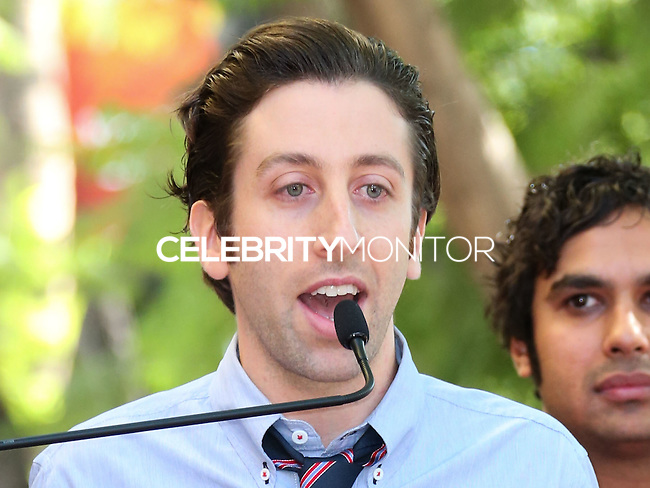 HOLLYWOOD, LOS ANGELES, CA, USA - OCTOBER 29: Simon Helberg, Kunal Nayyar at the ceremony honoring Kaley Cuoco with a star in the Hollywood Walk Of Fame on October 29, 2014 in Hollywood, Los Angeles, California, United States. (Photo by Xavier Collin/Celebrity Monitor)