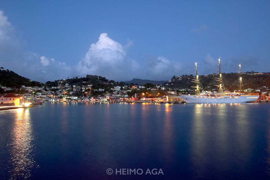 Caribbean cruise with Sea Cloud II..St. George's. The ship and the Carenage after sunset.