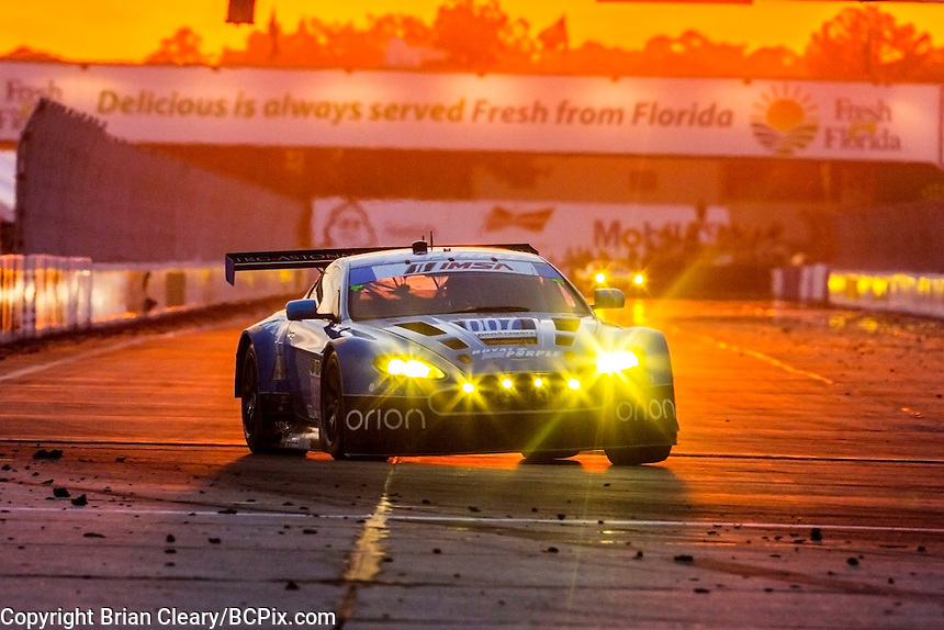 Sunset, #007 Aston Martin, Brandon Davis, James Davison, Christina Nielsen 12 Hours of Sebring, Sebring International Raceway, Sebring, FL, March 2015.  (Photo by Brian Cleary/ www.bcpix.com )