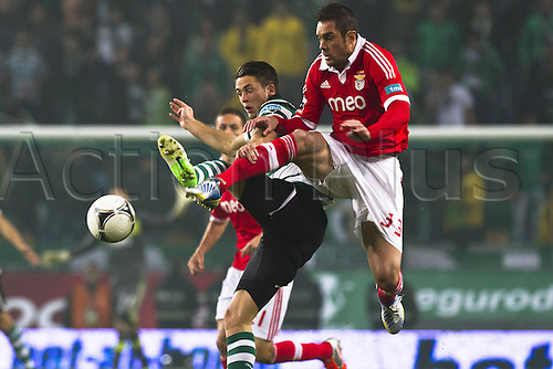 10.12.2012.  Lisbon Portugal Ricky van Wolfswinkel Sporting Clube Portugal and Jardel Sl Benfica during The Soccer Derby between Sporting Clube de Portugal and Sl Benfica  The Portuguese  Zon Sagres League at Sportings Stadium in Lisbon. Benfica won the tie by 1-3.