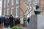 Mikhail Gorbachev, the last premier of the Soviet Union, arrives at the peace garden at Eureka College, the alma matter of President Reagan, in Eureka, Illinois on March 27, 2009.  Gorbachev is to receive an honorary doctorate from the college, calling Reagan a partner whom he trusted.