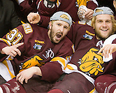 Justin Fontaine (Duluth - 37), Trent Palm (Duluth - 5) - The University of Minnesota-Duluth Bulldogs celebrated their 2011 D1 National Championship win on Saturday, April 9, 2011, at the Xcel Energy Center in St. Paul, Minnesota.