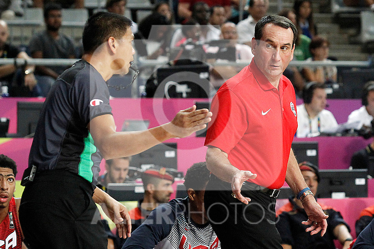 USA's coach Mike Krzyzewski have words with the referee during 2014 FIBA Basketball World Cup Quarter-Finals match.September 9,2014.(ALTERPHOTOS/Acero)