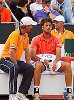 16-09-12, Netherlands, Amsterdam, Tennis, Daviscup Netherlands-Suisse, Dutch bench with captain Jan Siemerink and  Robin Haase
