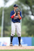 Cody Roberts (27) of Blessed Trinity High School in Johns Creek, Georgia playing for the Atlanta Braves scout team during the East Coast Pro Showcase on August 2, 2014 at NBT Bank Stadium in Syracuse, New York.  (Mike Janes/Four Seam Images)