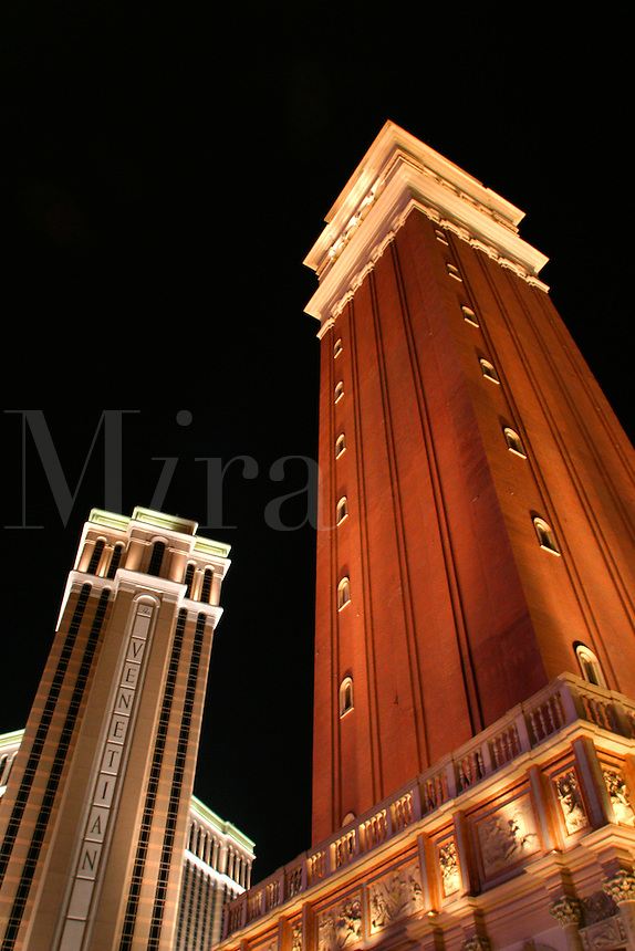The Venetian Resort Hotel Casino and replica of Saint Mark's Square bell tower, Las Vegas, Clark County, N