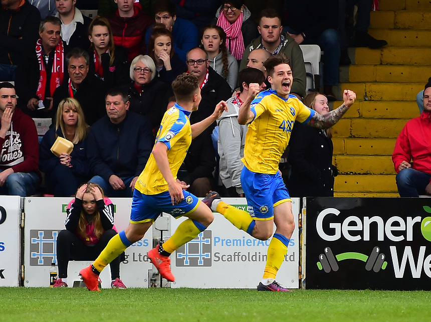 Torquay United's Ruairi Keating celebrates scoring the opening goal <br /> <br /> Photographer Andrew Vaughan/CameraSport<br /> <br /> Vanarama National League - Lincoln City v Chester - Tuesday 11th April 2017 - Sincil Bank - Lincoln<br /> <br /> World Copyright &copy; 2017 CameraSport. All rights reserved. 43 Linden Ave. Countesthorpe. Leicester. England. LE8 5PG - Tel: +44 (0) 116 277 4147 - admin@camerasport.com - www.camerasport.com
