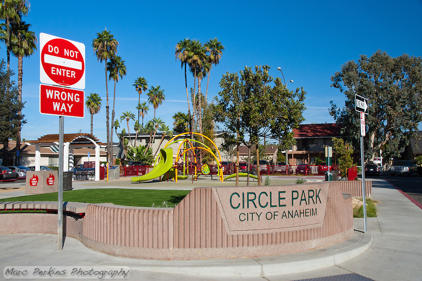 The dedication sign form Circle Park, a pocket park located on Park Circle Drive in Anaheim, California.  The sign lists the park's date as April 2016.