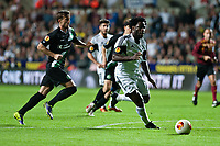 Thursday  03 October  2013  Pictured: Wilfried Bony of Swansea ( with ball ) prepares to take a shot at goal<br /> Re:UEFA Europa League, Swansea City FC vs FC St.Gallen,  at the Liberty Staduim Swansea