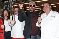 LOS ANGELES - DEC 10:  Rudi Sodamin, Guy Fieri, Emeril Lagasse at the Carnival Panorama Press Day at Long Beach Carnival Cruise Terminal on December 10, 2019 in Long Beach, CA