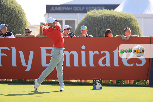 Rory McIlroy (NIR) on the 14th during round 2 of the DP World Tour Championship, Jumeirah Golf Estates, Dubai, United Arab Emirates. 18/11/2016<br /> Picture: Golffile | Fran Caffrey<br /> <br /> <br /> All photo usage must carry mandatory copyright credit (&copy; Golffile | Fran Caffrey)