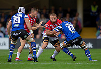 Gloucester Rugby's Ruan Ackermann is tackled by Bath Rugby's Taulupe Faletau<br /> <br /> Photographer Bob Bradford/CameraSport<br /> <br /> Gallagher Premiership - Bath Rugby v Gloucester Rugby - Saturday September 8th 2018 - The Recreation Ground - Bath<br /> <br /> World Copyright &copy; 2018 CameraSport. All rights reserved. 43 Linden Ave. Countesthorpe. Leicester. England. LE8 5PG - Tel: +44 (0) 116 277 4147 - admin@camerasport.com - www.camerasport.com