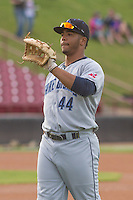 Lake County Captains first baseman Bobby Bradley (44) warms up prior to a Midwest League game against the Wisconsin Timber Rattlers on June 3rd, 2015 at Fox Cities Stadium in Appleton, Wisconsin. Wisconsin defeated Lake County 3-2. (Brad Krause/Four Seam Images)