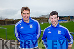 Maurice Fitzgerald and Sean Cournane at their training session in Cahersiveen on Saturday ahead of their trip to Croke Park at the weekend.