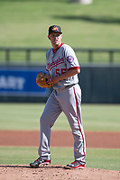 Mesa Solar Sox starting pitcher Kyle McGowin (55) of the Washington Nationals organization, prepares to deliver a pitch to the plate during an Arizona Fall League game against the Salt River Rafters on October 30, 2017 at Salt River Fields at Talking Stick in Scottsdale, Arizona. The Solar Sox defeated the Rafters 8-4. (Zachary Lucy/Four Seam Images)