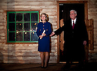 US Senator Kay Bailey Hutchison (cq, left) and her husband Ray Hutchison (cq) greet the crowd before a concession speech at Eddie Deen's Ranch near downtown Dallas, Texas, Tuesday, March 2, 2010. Hutchison was hoping to get enough votes during the Texas primaries to force a run-off election against current Governor Rick Perry (cq)...PHOTO/ MATT NAGER