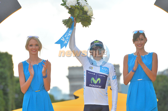 White Jersey Nairo Quintana (COL) Movistar on the podium in Paris at the end of Stage 21 of the 2015 Tour de France running 109.5km from Sevres to Paris - Champs Elysees, France. 26th July 2015.<br /> Photo: ASO/B.Bade/Newsfile