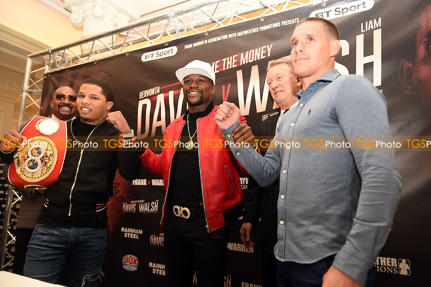 From (L): Gervonta Davis, Floyd Mayweather Jr, Frank Warren and Liam Walsh during a Press Conference at the Savoy Hotel on 7th March 2017