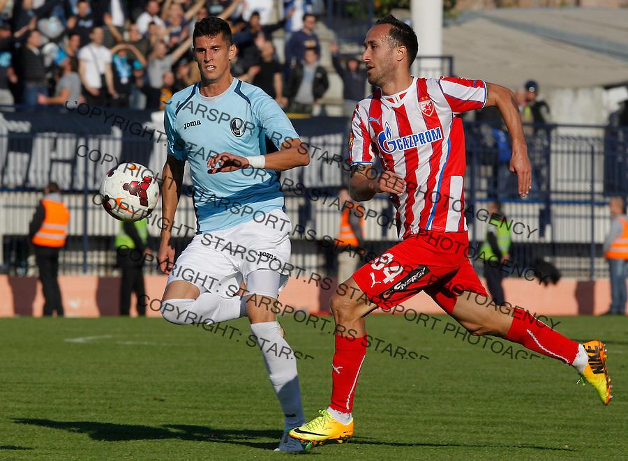 Fudbal Super liga season 2013-2014<br /> Rad v Crvena Zvezda<br /> Dragan Mrdja (R) and Lazar Cirkovic<br /> Beograd, 10.11.2013.<br /> foto: Srdjan Stevanovic/Starsportphoto &copy;