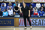DURHAM, NC - NOVEMBER 24: Duke assistant coach Cristina Robertson. The Duke University Blue Devils hosted the University of North Carolina Tar Heels on November 24, 2017 at Cameron Indoor Stadium in Durham, NC in a Division I women's college volleyball match. Duke won 3-0 (25-21, 25-22, 25-20).