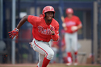 GCL Phillies West Juan Carlos Smith (19) runs to first base during a Gulf Coast League game against the GCL Yankees East on July 26, 2019 at the New York Yankees Minor League Complex in Tampa, Florida.  (Mike Janes/Four Seam Images)
