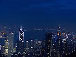 View at Hongkongs Central District with the striking Bank of China Tower.