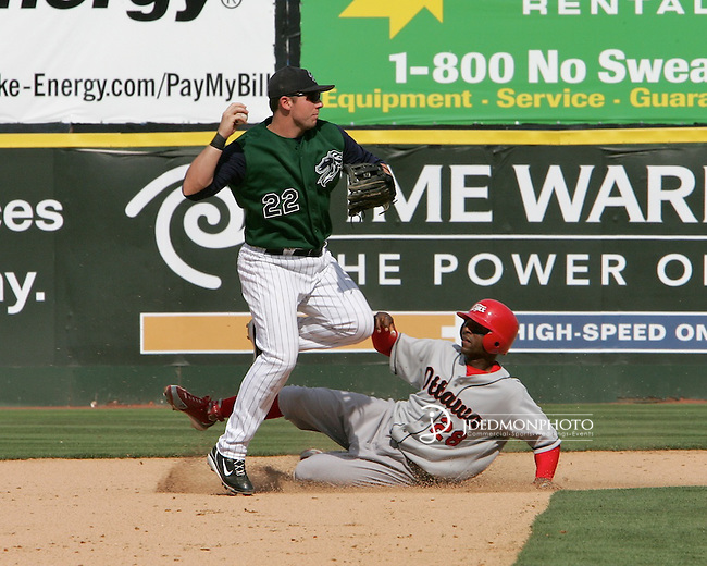 Charlotte Knights second baseman makes the catch and readies the throw to first for the double play against Ottawa.