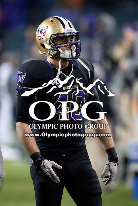 NOV 10, 2012:  Washington's Stetson Shearer against Utah.  Washington defeated Utah  34-15 at CenturyLink Field in Seattle, WA...