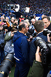 16.03.2019, VELTINS Arena, Gelsenkirchen, Deutschland, GER, 1. FBL, FC Schalke 04 vs. RB Leipzig<br /> <br /> DFL REGULATIONS PROHIBIT ANY USE OF PHOTOGRAPHS AS IMAGE SEQUENCES AND/OR QUASI-VIDEO.<br /> <br /> im Bild Huub Stevens (Trainer / Coach Schalke) im Interview mit Fotografen / Medien<br /> <br /> Foto © nordphoto / Kurth