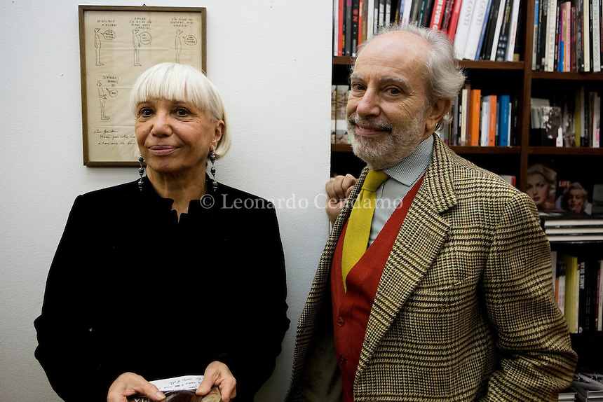 Milan, Italy, December the 13rd, 2009. Miro Silvera, writer with Elena Rader, writer author of \'Astro-therapy\'. © Leonardo Cendamo